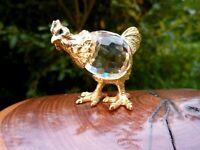 wunderschöne Kristall Glas Miniatur Figur Huhn 4 cm Metall goldfarbend