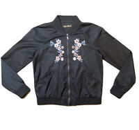 Madden NYC Women's Size M Floral Embroidered Track Jacket Black Long Sleeve Zip