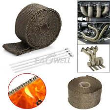 Exhaust Manifold Titanium Heat Wrap Tape 1800F Thermal Wrap 25mm X 5M & 4pc Ties