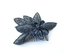 Navy Blue Black Sequin Hair Comb 1920s Great Gatsby Flapper Vintage Clip 4755