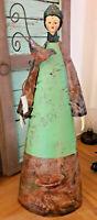 XL Engel 58 cm Metall grün Nostalgie Weihnachten Winter Brocante