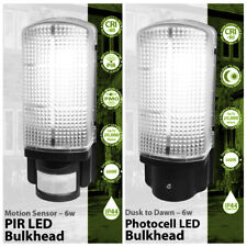 PIR Sensor or Dusk Till Dawn Photocell Bulkhead Outdoor Security LED Wall Light