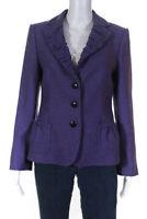 Armani Collezioni Womens Wool Ruched Long Sleeve Blazer Jacket Purple Size 8
