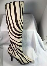 MANOLO BLAHNIK White Brown Zebra Print Pony Hair Knee High Boots Sz 37 / 6.5M