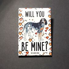 Bluetick Coonhound Dog and Hearts Magnet Valentines Day Gifts and Holiday Decor