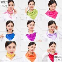 Women Soft Satin Silk Square Scarf  Plain  Neck Wrap Headband 60*60 cm