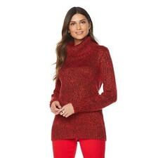 DG2 by Diane Gilman Marled Turtleneck Sweater in Red, Small