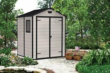 Keter Manor Outdoor Plastic Garden Storage Shed, Beige, 6 x 5 ft