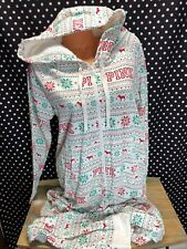 Victorias Secret Pink One Piece Pajama Sherpa Hooded Snowflake Large New v37