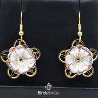 Hand Carved Drop/Dangle Flower Earrings Women Jewelry 14K Yellow Gold Plated