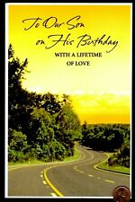 Birthday Road Journey Trees Grass - For Son LARGE - Birthday Greeting Card  New