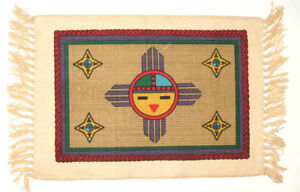 """Southwest Native American Themed Sun face Placemats 13x19"""" Canvas SF87"""