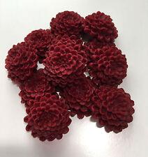12 Edible Dark Red/Burgundy Chrysanthemums Wedding Flower Cake Decoration Topper