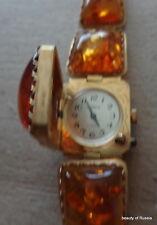 Vintage gold BALTIC Cognac AMBER WATCH - bracelet / wind up/ WOMEN /not working/