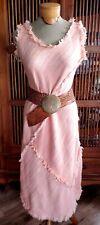 Vintage 90 Fringe Works Hand Woven Hawaii Bias Cut Fringe Lagenlook Dress M Ooak