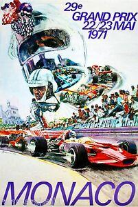 1971 Monaco 29th Grand Prix Automobile Race Car Advertisement Vintage Poster