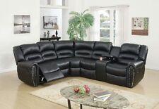 New Arm Loveseat w Console Recliner & Corner Wedge 3pc Motion Sectional Stylish