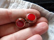 QUALITY PAIR OF GOLD PLATED RED ENAMEL TARGET STYLE CLIP ON EARRINGS   32
