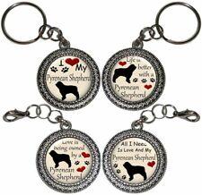 Pyrenean Shepherd Dog Key Ring Purse Charm Zipper Pull Key Chain Handmade Gift