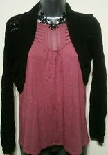 Size 8 Shrug Cardigan Bolero Black Long Sleeved Crotchet Knit