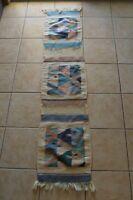 Vintage Wool Southwest Wall Hanging Art Decor Tribal Fish Boho Textile Native
