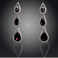 18K WHITE GOLD PLATED PURPLE & CLEAR CUBIC ZIRCONIA DANGLE STATEMENT EARRINGS