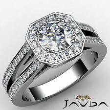 2.46ct Classic Round Diamond Engagement Halo Pave Ring GIA F VS2 14k White Gold