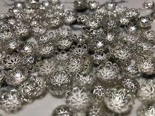 50Pcs Flower Caps Shape Silver Loose Bead Jewelry Making 12mm Diameter Craft DIY