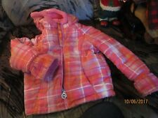 3T  Girls ZEROXPOSUR Coat FLEECE LINED PINK PLAID  HOODED WARM JACKET PREOWNED