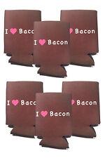 I LOVE BACON CAN COOLER (6 PACK) I HEART BACON BEER SODA FOAM INSULATOR SLEEVE
