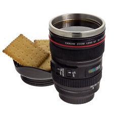 Taza de Café objetivo de cámara con tapa, función térmica, acero inoxidable