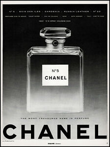 1960 Chanel N°5 new spray cologne Large Bottle photo debut retro print ad adl83