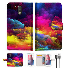 Colorful Cloud Wallet TPU Case Cover for Motorola Moto G5 Plus A021