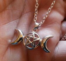 Triple Moon Goddess Pendant Pagan Wiccan Witchcraft Witch 18 Inch Necklace