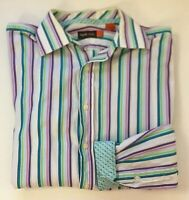 Nyne Mens Flip Cuff Dress Shirt Long Sleeve Purple Green Cotton Striped Easter L