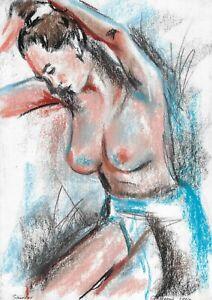 original drawing A4 173HO art samovar Pastel female nude body Signed 2021