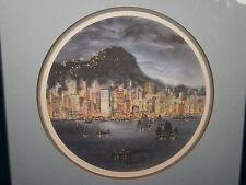 TAM SAU MOK ART PRINT LE SIGNED ASIA HONG KONG NIGHT VIEW ROUND FRAMED BLUE