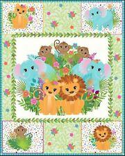 Safari Animals Jungle Baby Wall hanging Quilt top Panel Fabric 100% cotton