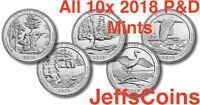 All 2018 P&D Set 10x Park Quarters U.S Mint ATB Complete Pictured - Block Island