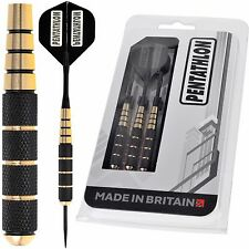 BLACK COATED STEEL TIP BRASS DARTS SET + DART FLIGHTS + ALI DART STEMS / SHAFTS