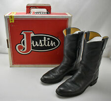 Vintage Justin Grey Leather Cowboy Boots-Women's Western Boots 7.5A Original Box