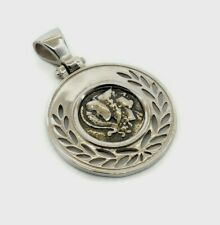 GODDESS ATHENA GREEK COIN PENDANT SOLID STERLING SILVER 925 CODE 80