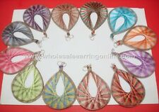 Wholesale of 12 pairs of Thread earring Assorted colors Large Size #218A