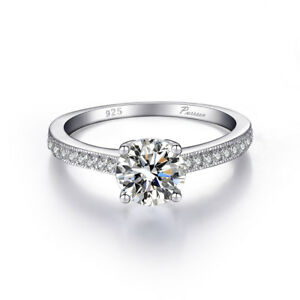 Women Fashion 925 Silver Cut Zircon Solitaire Ring Engagement Wedding Jewelry