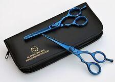 "Professional Hairdressing Saloon Scissors 5.5"" Scissors &Thinning BLUE TITINUM"