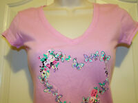 JENNI Pink T-Shirt Heart of Butterflies and Flowers XS - Large MSRP $25 NWT