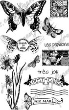 EcoGreen Recycled Rubber Art Stamp Set  BUTTERFLY POST  ~ 12 Stamps  ~04310