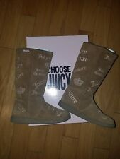 EUC Juicy Couture girls winter fur taupe tall boots size 12 logo Angel Kid style