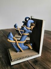 2 x Wooden Blue Anchor Rope Book Ends Bookends Holder Display Stand Nautical