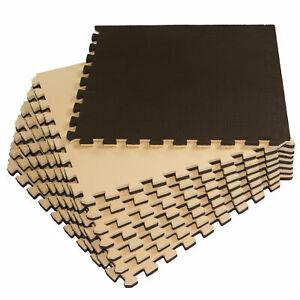 8x EVA-Bodenschutz Matte dick Beige-Braun 58x58x2cm Bodenmatte Puzzle Fitness B
